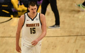 """PHOENIX, AZ - JUNE 7: Nikola Jokic (15) of the Denver Nuggets shows signs of frustration during the fourth quarter of Phoenix""""u2019s 122-105 win at Phoenix Suns Arena on Monday, June 7, 2021. The Phoenix Suns hosted the Denver Nuggets for game one of their best-of-seven NBA Playoffs series. (Photo by AAron Ontiveroz/MediaNews Group/The Denver Post via Getty Images)"""