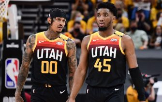 SALT LAKE CITY, UT - JUNE 10: Jordan Clarkson #00 of the Utah Jazz talks to Donovan Mitchell #45 of the Utah Jazz during the game against the LA Clippers during Round 2, Game 2 of the 2021 NBA Playoffs on June 10, 2021 at vivint.SmartHome Arena in Salt Lake City, Utah. NOTE TO USER: User expressly acknowledges and agrees that, by downloading and or using this Photograph, User is consenting to the terms and conditions of the Getty Images License Agreement. Mandatory Copyright Notice: Copyright 2021 NBAE (Photo by Adam Pantozzi/NBAE via Getty Images)