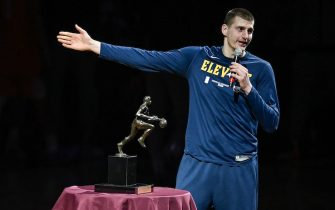 DENVER, CO - JUNE 11:  Nikola Jokic #15 of the Denver Nuggets accepts the 2021 NBA MVP award before Game Three of the Western Conference second-round playoff series at Ball Arena on June 11, 2021 in Denver, Colorado. NOTE TO USER: User expressly acknowledges and agrees that, by downloading and or using this photograph, User is consenting to the terms and conditions of the Getty Images License Agreement. (Photo by Dustin Bradford/Getty Images)