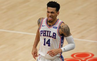 ATLANTA, GEORGIA - JUNE 11:  Danny Green #14 of the Philadelphia 76ers reacts after an injury against the Atlanta Hawks during the first half of game 3 of the Eastern Conference Semifinals at State Farm Arena on June 11, 2021 in Atlanta, Georgia.  NOTE TO USER: User expressly acknowledges and agrees that, by downloading and or using this photograph, User is consenting to the terms and conditions of the Getty Images License Agreement. (Photo by Kevin C. Cox/Getty Images)