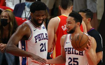 ATLANTA, GEORGIA - JUNE 11:  Ben Simmons #25 and Joel Embiid #21 of the Philadelphia 76ers react during the second half of game 3 of the Eastern Conference Semifinals at State Farm Arena on June 11, 2021 in Atlanta, Georgia.  NOTE TO USER: User expressly acknowledges and agrees that, by downloading and or using this photograph, User is consenting to the terms and conditions of the Getty Images License Agreement. (Photo by Kevin C. Cox/Getty Images)
