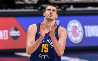 DENVER, CO - JUNE 11: Nikola Jokic (15) of the Denver Nuggets claps at the conclusion of the second quarter against the Phoenix Suns at Ball Arena on Friday, June 11, 2021. The Denver Nuggets hosted the Phoenix Suns for game three of their best-of-seven NBA Playoffs series. (Photo by AAron Ontiveroz/MediaNews Group/The Denver Post via Getty Images)