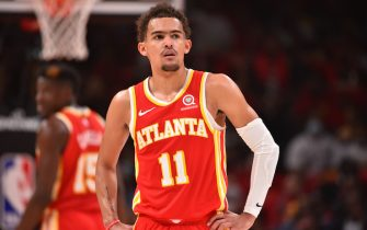 ATLANTA, GA - JUNE 11: Trae Young #11 of the Atlanta Hawks looks on during a game against the Philadelphia 76ers during Round 2, Game 3 of the Eastern Conference Playoffs on June 11, 2021 at State Farm Arena in Atlanta, Georgia. NOTE TO USER: User expressly acknowledges and agrees that, by downloading and/or using this Photograph, user is consenting to the terms and conditions of the Getty Images License Agreement. Mandatory Copyright Notice: Copyright 2021 NBAE (Photo by Jesse D. Garrabrant/NBAE via Getty Images)