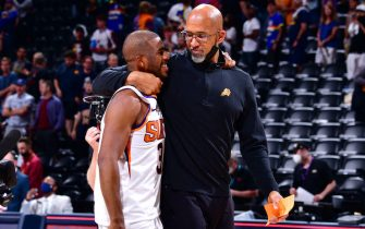 DENVER, CO - JUNE 13: Head Coach Monty Williams of the Phoenix Suns hugs Chris Paul #3 after the game against the Denver Nuggets during Round 2, Game 4 of the 2021 NBA Playoffs on June 13, 2021 at the Ball Arena in Denver, Colorado. NOTE TO USER: User expressly acknowledges and agrees that, by downloading and/or using this Photograph, user is consenting to the terms and conditions of the Getty Images License Agreement. Mandatory Copyright Notice: Copyright 2021 NBAE (Photo by Barry Gossage/NBAE via Getty Images)