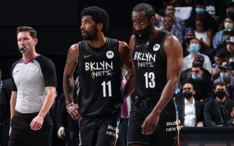BROOKLYN, NY - JUNE 1: Kyrie Irving #11 and James Harden #13 of the Brooklyn Nets look on during the game against the Boston Celtics during Round 1, Game 5 of the 2021 NBA Playoffs on June 1, 2021 at Barclays Center in Brooklyn, New York. NOTE TO USER: User expressly acknowledges and agrees that, by downloading and or using this Photograph, user is consenting to the terms and conditions of the Getty Images License Agreement. Mandatory Copyright Notice: Copyright 2021 NBAE (Photo by Nathaniel S. Butler/NBAE via Getty Images)