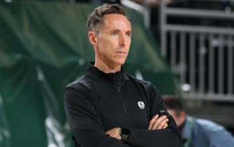 MILWAUKEE, WI - JUNE 10: Head Coach Steve Nash of the Brooklyn Nets looks on during the game against the Milwaukee Bucks during Round 2, Game 3 of the 2021 NBA Playoffs on June 10, 2021 at the Fiserv Forum Center in Milwaukee, Wisconsin. NOTE TO USER: User expressly acknowledges and agrees that, by downloading and or using this Photograph, user is consenting to the terms and conditions of the Getty Images License Agreement. Mandatory Copyright Notice: Copyright 2021 NBAE (Photo by Gary Dineen/NBAE via Getty Images).