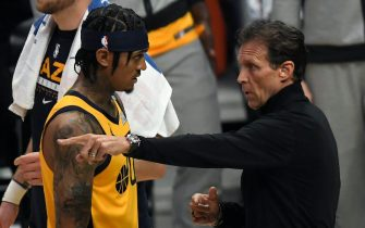 LOS ANGELES, CA - JUNE 14: Head coach Quin Snyder of the Utah Jazz talks with Jordan Clarkson #00 during a break in the first half in Game Four of the Western Conference second-round playoff series at Staples Center on June 14, 2021 in Los Angeles, California. NOTE TO USER: User expressly acknowledges and agrees that, by downloading and or using this photograph, User is consenting to the terms and conditions of the Getty Images License Agreement. (Photo by Kevork Djansezian/Getty Images)