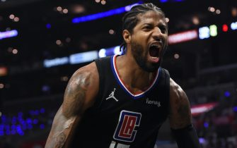 LOS ANGELES, CA - JUNE 14: Paul George #13 of the LA Clippers celebrates against the Utah Jazz during Round 2, Game 4 of the 2021 NBA Playoffs on June 14, 2021 at STAPLES Center in Los Angeles, California. NOTE TO USER: User expressly acknowledges and agrees that, by downloading and/or using this Photograph, user is consenting to the terms and conditions of the Getty Images License Agreement. Mandatory Copyright Notice: Copyright 2021 NBAE (Photo by Juan Ocampo/NBAE via Getty Images)