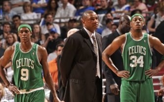ORLANDO - MAY 10: Rajon Rondo #9, head coach Doc Rivers and Paul Pierce #34 of the Boston Celtics during a break in play against the Orlando Magic in Game Four of the Eastern Conference Semifinals during the 2009 NBA Playoffs at Amway Arena on May 10, 2009 in Orlando, Florida. NOTE TO USER: User expressly acknowledges and agrees that, by downloading and or using this photograph, User is consenting to the terms and conditions of the Getty Images License Agreement. Mandatory Copyright Notice: Copyright 2009 NBAE (Photo by Fernando Medina/NBAE via Getty Images)