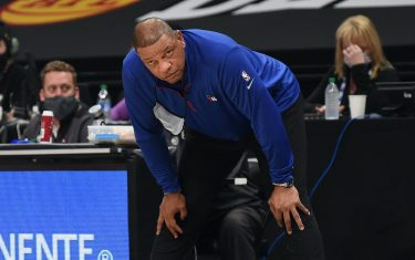 ATLANTA, GA - JUNE 14: Head Coach Doc Rivers of the Philadelphia 76ers looks on during Round 2, Game 4 of the Eastern Conference Playoffs on June 14, 2021 at State Farm Arena in Atlanta, Georgia. NOTE TO USER: User expressly acknowledges and agrees that, by downloading and/or using this Photograph, user is consenting to the terms and conditions of the Getty Images License Agreement. Mandatory Copyright Notice: Copyright 2021 NBAE (Photo by David Dow/NBAE via Getty Images)