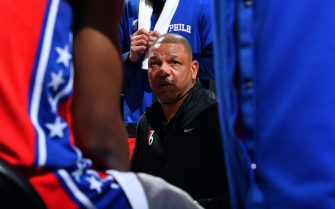 PHILADELPHIA, PA - JUNE 6: Head Coach Doc Rivers of the Philadelphia 76ers talks to his team during a timeout against the Atlanta Hawks during Round 2, Game 1 of the Eastern Conference Playoffs on June 6, 2021 at Wells Fargo Center in Philadelphia, Pennsylvania. NOTE TO USER: User expressly acknowledges and agrees that, by downloading and/or using this Photograph, user is consenting to the terms and conditions of the Getty Images License Agreement. Mandatory Copyright Notice: Copyright 2021 NBAE (Photo by Jesse D. Garrabrant/NBAE via Getty Images)