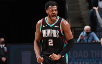 MEMPHIS, TN - FEBRUARY 25: Xavier Tillman #2 of the Memphis Grizzlies celebrates during the game against the LA Clippers on February 25, 2021 at FedExForum in Memphis, Tennessee. NOTE TO USER: User expressly acknowledges and agrees that, by downloading and or using this photograph, User is consenting to the terms and conditions of the Getty Images License Agreement. Mandatory Copyright Notice: Copyright 2021 NBAE (Photo by Joe Murphy/NBAE via Getty Images)