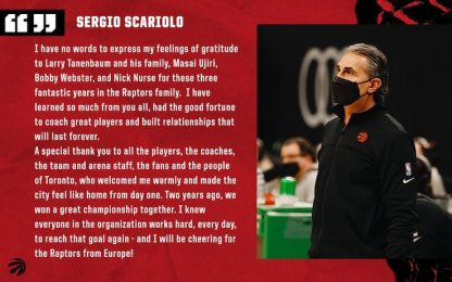 "Scariolo saluta i Raptors: ""Solo gratitudine"""