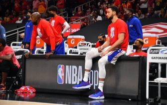 ATLANTA, GA - JUNE 18: Ben Simmons #25 of the Philadelphia 76ers looks on during a game against the Atlanta Hawks during Round 2, Game 6 of the Eastern Conference Playoffs on June 18, 2021 at State Farm Arena in Atlanta, Georgia. NOTE TO USER: User expressly acknowledges and agrees that, by downloading and/or using this Photograph, user is consenting to the terms and conditions of the Getty Images License Agreement. Mandatory Copyright Notice: Copyright 2021 NBAE (Photo by Jesse D. Garrabrant/NBAE via Getty Images)