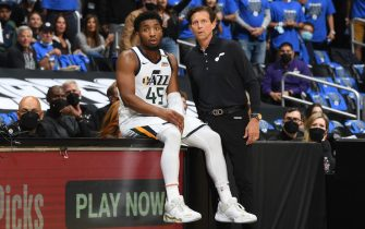 LOS ANGELES, CA - JUNE 18: Donovan Mitchell #45 and Head Coach Quin Snyder of the Utah Jazz look on during the game against the LA Clippers during Round 2, Game 6 of the 2021 NBA Playoffs on June 18, 2021 at STAPLES Center in Los Angeles, California. NOTE TO USER: User expressly acknowledges and agrees that, by downloading and/or using this Photograph, user is consenting to the terms and conditions of the Getty Images License Agreement. Mandatory Copyright Notice: Copyright 2021 NBAE (Photo by Andrew D. Bernstein/NBAE via Getty Images)