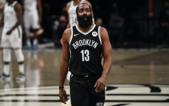 BROOKLYN, NY - JUNE 19: James Harden #13 of the Brooklyn Nets looks on during a game against the Milwaukee Bucks during Round 2, Game 7 on June 19, 2021 at Barclays Center in Brooklyn, New York. NOTE TO USER: User expressly acknowledges and agrees that, by downloading and/or using this Photograph, user is consenting to the terms and conditions of the Getty Images License Agreement. Mandatory Copyright Notice: Copyright 2021 NBAE (Photo by David Dow/NBAE via Getty Images)