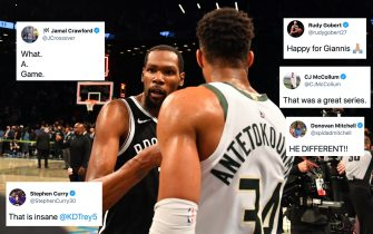 BROOKLYN, NY - JUNE 19: Kevin Durant #7 of the Brooklyn Nets and Giannis Antetokounmpo #34 of the Milwaukee Bucks high-five after Round 2, Game 7 on June 19, 2021 at Barclays Center in Brooklyn, New York. NOTE TO USER: User expressly acknowledges and agrees that, by downloading and/or using this Photograph, user is consenting to the terms and conditions of the Getty Images License Agreement. Mandatory Copyright Notice: Copyright 2021 NBAE (Photo by Jesse D. Garrabrant/NBAE via Getty Images)