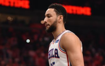 ATLANTA, GA - JUNE 18: Ben Simmons #25 of the Philadelphia 76ers looks on during a game against the Atlanta Hawks during Round 2, Game 6 of the Eastern Conference Playoffs on June 18, 2021 at State Farm Arena in Atlanta, Georgia. NOTE TO USER: User expressly acknowledges and agrees that, by downloading and/or using this Photograph, user is consenting to the terms and conditions of the Getty Images License Agreement. Mandatory Copyright Notice: Copyright 2021 NBAE (Photo by David Dow/NBAE via Getty Images)