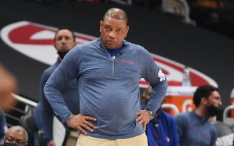 ATLANTA, GA - JUNE 18: Head Coach Doc Rivers of the Philadelphia 76ers looks on during Round 2, Game 6 of the Eastern Conference Playoffs on June 18, 2021 at State Farm Arena in Atlanta, Georgia. NOTE TO USER: User expressly acknowledges and agrees that, by downloading and/or using this Photograph, user is consenting to the terms and conditions of the Getty Images License Agreement. Mandatory Copyright Notice: Copyright 2021 NBAE (Photo by David Dow/NBAE via Getty Images)
