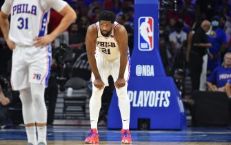 PHILADELPHIA, PA - JUNE 20: Joel Embiid #21 of the Philadelphia 76ers looks on during a game against the Atlanta Hawks during Round 2, Game 7 of the Eastern Conference Playoffs on June 20, 2021 at Wells Fargo Center in Philadelphia, Pennsylvania. NOTE TO USER: User expressly acknowledges and agrees that, by downloading and/or using this Photograph, user is consenting to the terms and conditions of the Getty Images License Agreement. Mandatory Copyright Notice: Copyright 2021 NBAE (Photo by Jesse D. Garrabrant/NBAE via Getty Images)
