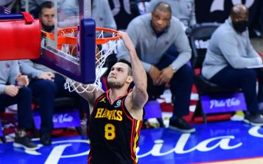 PHILADELPHIA, PA - JUNE 20: Danilo Gallinari #8 of the Atlanta Hawks dunks the ball against the Philadelphia 76ers during Round 2, Game 7 of the 2021 NBA Playoffs on June 20, 2021 at Wells Fargo Center in Philadelphia, Pennsylvania.  NOTE TO USER: User expressly acknowledges and agrees that, by downloading and/or using this Photograph, user is consenting to the terms and conditions of the Getty Images License Agreement. Mandatory Copyright Notice: Copyright 2021 NBAE (Photo by Scott Cunningham/NBAE via Getty Images)