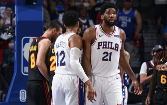 PHILADELPHIA, PA - JUNE 20: Tobias Harris #12 of the Philadelphia 76ers and Joel Embiid #21 of the Philadelphia 76ers high-five during Round 2, Game 7 of the Eastern Conference Playoffs on June 20, 2021 at Wells Fargo Center in Philadelphia, Pennsylvania. NOTE TO USER: User expressly acknowledges and agrees that, by downloading and/or using this Photograph, user is consenting to the terms and conditions of the Getty Images License Agreement. Mandatory Copyright Notice: Copyright 2021 NBAE (Photo by David Dow/NBAE via Getty Images)