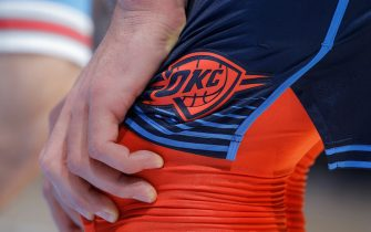 SACRAMENTO, CA - DECEMBER 19: A close up of the Oklahoma City Thunder logo on the shorts belonging to Steven Adams #12 during the game against the Sacramento Kings on December 19, 2018 at Golden 1 Center in Sacramento, California. NOTE TO USER: User expressly acknowledges and agrees that, by downloading and or using this photograph, User is consenting to the terms and conditions of the Getty Images Agreement. Mandatory Copyright Notice: Copyright 2018 NBAE (Photo by Rocky Widner/NBAE via Getty Images)