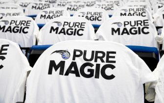 ORLANDO, FL - OCTOBER 26: T-shirts with the Orlando Magic logo hang over spectator seats before opening night on October 26, 2016 at Amway Center in Orlando, Florida. NOTE TO USER: User expressly acknowledges and agrees that, by downloading and or using this photograph, User is consenting to the terms and conditions of the Getty Images License Agreement. (Photo by Manuela Davies/Getty Images)