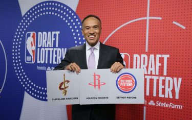 SECAUCUS, NJ - JUNE 22: Deputy Commissioner of the NBA, Mark Tatum holds up the cards of the Cleveland Cavaliers, the Houston Rockets and the Detroit Pistons during the 2021 NBA Draft Lottery on June 22, 2021 at the NBA Entertainment Studios in Secaucus, New Jersey. NOTE TO USER: User expressly acknowledges and agrees that, by downloading and/or using this photograph, user is consenting to the terms and conditions of the Getty Images License Agreement. Mandatory Copyright Notice: Copyright 2021 NBAE (Photo by Steve Freeman/NBAE via Getty Images)