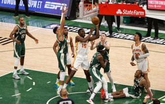 MILWAUKEE, WI - JUNE 23: Clint Capela #15 of the Atlanta Hawks shoots the ball during the game against the Milwaukee Bucks during Game 1 of the Eastern Conference Finals of the 2021 NBA Playoffs on June 23, 2021 at the Fiserv Forum Center in Milwaukee, Wisconsin. NOTE TO USER: User expressly acknowledges and agrees that, by downloading and or using this Photograph, user is consenting to the terms and conditions of the Getty Images License Agreement. Mandatory Copyright Notice: Copyright 2021 NBAE (Photo by Kamil Krzaczynski/NBAE via Getty Images).