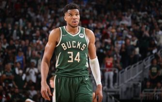 MILWAUKEE, WI - JUNE 23: Giannis Antetokounmpo #34 of the Milwaukee Bucks looks on during Game 1 of the Eastern Conference Finals of the 2021 NBA Playoffs on June 23, 2021 at the Fiserv Forum Center in Milwaukee, Wisconsin. NOTE TO USER: User expressly acknowledges and agrees that, by downloading and or using this Photograph, user is consenting to the terms and conditions of the Getty Images License Agreement. Mandatory Copyright Notice: Copyright 2021 NBAE (Photo by Nathaniel S. Butler/NBAE via Getty Images).