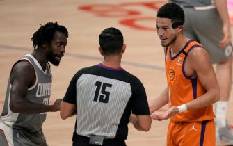 Los Angeles, CA - June 26:  Patrick Beverley #21 of the LA Clippers and \d1\ talk to referee Zach Zarba #15 in the first half of game four of a Western Conference finals NBA playoff basketball game at the Staples Center in Los Angeles on Saturday, June 26, 2021. (Photo by Keith Birmingham/MediaNews Group/Pasadena Star-News via Getty Images)