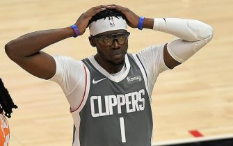 LOS ANGELES, CALIFORNIA - JUNE 26: Reggie Jackson #1 of the LA Clippers reacts against the Phoenix Suns during the second half in game four of the Western Conference Finals at Staples Center on June 26, 2021 in Los Angeles, California. NOTE TO USER: User expressly acknowledges and agrees that, by downloading and or using this photograph, User is consenting to the terms and conditions of the Getty Images License  (Photo by Kevork Djansezian/Getty Images)