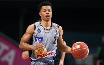 21 May 2021, Bavaria, Munich: Basketball: Bundesliga, FC Bayern München - Hakro Merlins Crailsheim, Championship Round, Quarterfinals, Matchday 2 at Audi Dome. Trae Bell-Haynes of Crailsheim. Munich wins with 83:79. Photo: Tobias Hase/dpa (Photo by Tobias Hase/picture alliance via Getty Images)