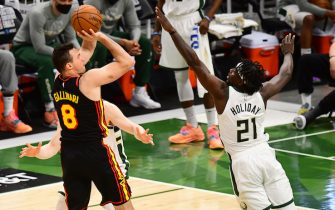 MILWAUKEE, WI - JULY 1: Danilo Gallinari #8 of the Atlanta Hawks shoots the ball during the game against the Milwaukee Bucks during Game 5 of the Eastern Conference Finals of the 2021 NBA Playoffs on July 1, 2021 at the Fiserv Forum Center in Milwaukee, Wisconsin. NOTE TO USER: User expressly acknowledges and agrees that, by downloading and or using this Photograph, user is consenting to the terms and conditions of the Getty Images License Agreement. Mandatory Copyright Notice: Copyright 2021 NBAE (Photo by Scott Cunningham/NBAE via Getty Images).