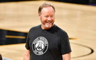 PHOENIX, AZ - JULY 5: Head Coach Mike Budenholzer of the Milwaukee Bucks during practice and media availability as part of the 2021 NBA Finals on July 5, 2021 at Phoenix Suns Arena in Phoenix, Arizona. NOTE TO USER: User expressly acknowledges and agrees that, by downloading and or using this photograph, user is consenting to the terms and conditions of Getty Images License Agreement. Mandatory Copyright Notice: Copyright 2021 NBAE (Photo by Barry Gossaage/NBAE via Getty Images)