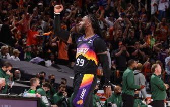 PHOENIX, AZ - July 8: Jae Crowder #99 of the Phoenix Suns celebrates during Game Two of the 2021 NBA Finals on July 8, 2021 at Phoenix Suns Arena in Phoenix, Arizona. NOTE TO USER: User expressly acknowledges and agrees that, by downloading and or using this photograph, user is consenting to the terms and conditions of the Getty Images License Agreement. Mandatory Copyright Notice: Copyright 2021 NBAE (Photo by Nathaniel S. Butler/NBAE via Getty Images)