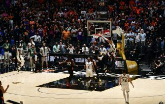 PHOENIX, AZ - July 17: Giannis Antetokounmpo #34 of the Milwaukee Bucks dunks the ball against the Phoenix Suns during Game Five of the 2021 NBA Finals on July 17, 2021 at Footprint Center in Phoenix, Arizona. NOTE TO USER: User expressly acknowledges and agrees that, by downloading and or using this photograph, user is consenting to the terms and conditions of the Getty Images License Agreement. Mandatory Copyright Notice: Copyright 2021 NBAE (Photo by Garrett Ellwood/NBAE via Getty Images)