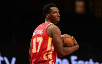 ATLANTA, GA - APRIL 7: Onyeka Okongwu #17 of the Atlanta Hawks looks on during the game against the Memphis Grizzlies on April 7, 2021 at State Farm Arena in Atlanta, Georgia.  NOTE TO USER: User expressly acknowledges and agrees that, by downloading and/or using this Photograph, user is consenting to the terms and conditions of the Getty Images License Agreement. Mandatory Copyright Notice: Copyright 2021 NBAE (Photo by Adam Hagy/NBAE via Getty Images)