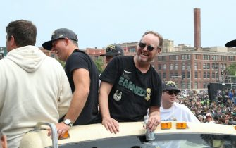 MILWAUKEE, WI - JULY 22: Head Coach Mike Budenholzer of the Milwaukee Bucks celebrates during their Victory Parade & Rally of the 2021 NBA Finals on July 22, 2021 at the Fiserv Forum Center in Milwaukee, Wisconsin. NOTE TO USER: User expressly acknowledges and agrees that, by downloading and or using this Photograph, user is consenting to the terms and conditions of the Getty Images License Agreement. Mandatory Copyright Notice: Copyright 2021 NBAE (Photo by Gary Dineen/NBAE via Getty Images).