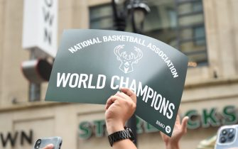 MILWAUKEE, WI - JULY 22: A view of signage at the Milwaukee Bucks Victory Parade &Rally of the 2021 NBA Finals  on July 22, 2021 at the Fiserv Forum Center in Milwaukee, Wisconsin. NOTE TO USER: User expressly acknowledges and agrees that, by downloading and or using this Photograph, user is consenting to the terms and conditions of the Getty Images License Agreement. Mandatory Copyright Notice: Copyright 2021 NBAE (Photo by David Dow/NBAE via Getty Images).