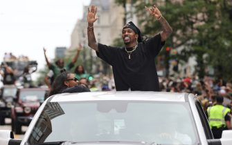 MILWAUKEE, WI - JULY 22: Former NBA Player, Brandon Jennings celebrates during their Victory Parade & Rally of the 2021 NBA Finals on July 22, 2021 at the Fiserv Forum in Milwaukee, Wisconsin. NOTE TO USER: User expressly acknowledges and agrees that, by downloading and or using this Photograph, user is consenting to the terms and conditions of the Getty Images License Agreement. Mandatory Copyright Notice: Copyright 2021 NBAE (Photo by Mike E. Roemer/NBAE via Getty Images).