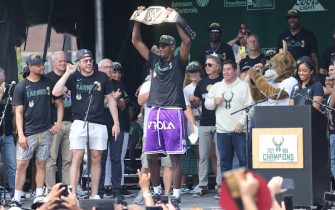 MILWAUKEE, WI - JULY 22: Bobby Portis #9 of the Milwaukee Bucks celebrates during their Victory Parade & Rally of the 2021 NBA Finals on July 22, 2021 at the Fiserv Forum in Milwaukee, Wisconsin. NOTE TO USER: User expressly acknowledges and agrees that, by downloading and or using this Photograph, user is consenting to the terms and conditions of the Getty Images License Agreement. Mandatory Copyright Notice: Copyright 2021 NBAE (Photo by Mike E. Roemer/NBAE via Getty Images).