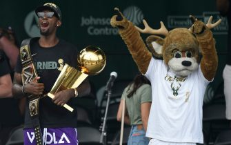 MILWAUKEE, WISCONSIN - JULY 22: Bobby Portis celebrates with the Larry O'Brien trophy during the Milwaukee Bucks 2021 NBA Championship Victory Parade and Rally in the Deer District of Fiserv Forum on July 22, 2021 in Milwaukee, Wisconsin. (Photo by Patrick McDermott/Getty Images)