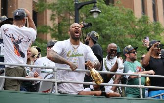 MILWAUKEE, WI - JULY 22: P.J. Tucker #17 of the Milwaukee Bucks celebrates during their Victory Parade & Rally of the 2021 NBA Finals on July 22, 2021 at the Fiserv Forum in Milwaukee, Wisconsin. NOTE TO USER: User expressly acknowledges and agrees that, by downloading and or using this Photograph, user is consenting to the terms and conditions of the Getty Images License Agreement. Mandatory Copyright Notice: Copyright 2021 NBAE (Photo by Mike E. Roemer/NBAE via Getty Images).