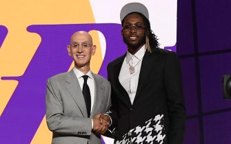 BROOKLYN, NY - JULY 29: Isaiah Jackson shakes hands with NBA Commissioner Adam Silver after being selected number twenty two overall by the Los Angeles Lakers during the 2021 NBA Draft on July 29, 2021 at Barclays Center in Brooklyn, New York. NOTE TO USER: User expressly acknowledges and agrees that, by downloading and or using this photograph, User is consenting to the terms and conditions of the Getty Images License Agreement. Mandatory Copyright Notice: Copyright 2021 NBAE (Photo by Brian Babineau/NBAE via Getty Images)