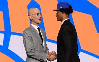 BROOKLYN, NY - JULY 29: Keon Johnson shakes hands with NBA Commissioner Adam Silver after being selected number twenty one overall by the New York Knicks during the 2021 NBA Draft on July 29, 2021 at Barclays Center in Brooklyn, New York. NOTE TO USER: User expressly acknowledges and agrees that, by downloading and or using this photograph, User is consenting to the terms and conditions of the Getty Images License Agreement. Mandatory Copyright Notice: Copyright 2021 NBAE (Photo by Brian Babineau/NBAE via Getty Images)