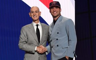 BROOKLYN, NY - JULY 29: Corey Kispert shakes hands with NBA Commissioner Adam Silver after being selected number fifteen overall  by the Washington Wizards during the 2021 NBA Draft on July 29, 2021 at Barclays Center in Brooklyn, New York. NOTE TO USER: User expressly acknowledges and agrees that, by downloading and or using this photograph, User is consenting to the terms and conditions of the Getty Images License Agreement. Mandatory Copyright Notice: Copyright 2021 NBAE (Photo by Brian Babineau/NBAE via Getty Images)