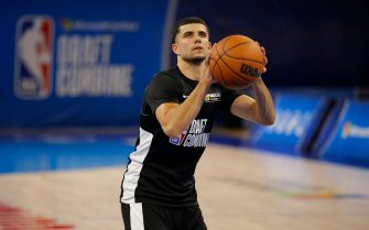 CHICAGO, IL - JUNE 23: NBA Draft Prospect, Marcus Zegarowski participates in the 2021 NBA Draft Combine on June 23, 2021 at the Wintrust Arena in Chicago, Illinois. NOTE TO USER: User expressly acknowledges and agrees that, by downloading and or using this photograph, user is consenting to the terms and conditions of the Getty Images License Agreement. Mandatory Copyright Notice: Copyright 2021 NBAE (Photo by Jeff Haynes/NBAE via Getty Images)