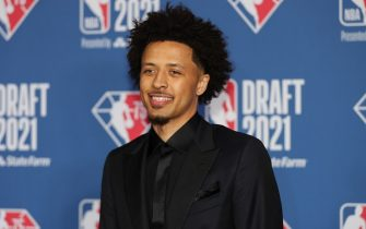 NEW YORK, NY - JULY 29: Cade Cunningham arrives to the 2021 NBA Draft on July 29, 2021 at the Barclays Center, New York.  NOTE TO USER: User expressly acknowledges and agrees that, by downloading and or using this photograph, User is consenting to the terms and conditions of the Getty Images License Agreement. Mandatory Copyright Notice: Copyright 2021 NBAE  (Photo by Chris Marion/NBAE via Getty Images)